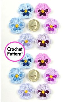Beth, crochet designer for Fox Stitch Design, creates some of the most beautiful crochet flower patterns out there. Her flowers… Crochet Snowflake Pattern, Flower Crochet, Crochet Snowflakes, Crochet Flower Patterns, Pansy Flower, Lapel Flower, Stitch Design, Irish Crochet, Beautiful Crochet