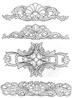 中式木雕花纹图案01
