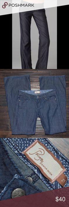 Paige Bentley Denim Trousers Dark Denim with Silver Hardware, wide leg Paige Premium Denim Pants Trousers