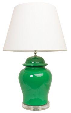 Society Social Ginger Jar Lamp in Green Ginger Jar Lamp, Ginger Jars, Asian Table Lamps, Overhead Lighting, Reading Room, Mason Jar Lamp, Interior Inspiration, Design Inspiration, Decoration