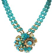 Signed Miriam Haskell aqua glass necklace with medallion