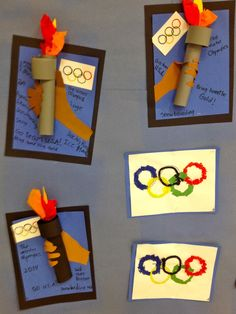 DIY Olympic Crafts and Party Ideas for Summer Olympics and Winter Olympics. Great ideas for the kids or adults including Olympic jewelry, Olympic t-shirts, Olympic Torch Crafts and Olympic Party Ideas! Kids Olympics, Summer Olympics, Special Olympics, Olympic Games For Kids, Olympic Idea, Olympic Crafts, Art For Kids, Crafts For Kids, Sport Craft