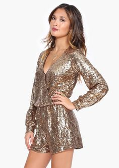 New Gold beaded Romper Sequin Jumper Long Sleeve jumpsuit shorts formal wrap new New Year Look, New Years Outfit, Zeina, Looks Style, Fashion Outfits, Womens Fashion, Ootd Fashion, Dress Me Up, Dress To Impress