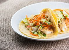 Fish Tacos with Asian Cabbage Slaw (can be Paleo if substitute corn tortillas for Paleo tortillas)
