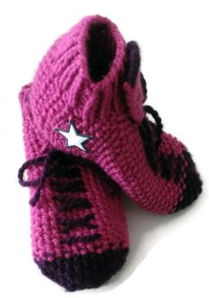 Handmade Pink and Purple Converse Inspired Slipper by NadiasKnits, $25.00  www.etsy.com/shop/nadiasknits  My Handmade Pink and Purple Converse Inspired Slipper Socks House Shoes are hand knit from 100% acrylic yarn. They are extremely comfortable, cozy, and soft! Perfect for wearing around the house. They fit size 8 or 9 comfortably. My slipper socks are super cute! A great gift for anyone!  #trending #fashion #accessories #converse #slipper #socks #houseshoes #knitting #etsy #smallbusiness