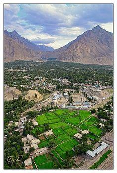 Skardu from Karpochu . Pakistan