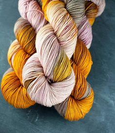 Hand dyed fingering weight SW Merino Saffron by SundaviaPearl, $19.00
