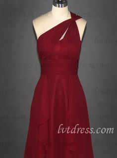 Selecting this red elegant dress for attending a wedding is quite suitable. Empire one-shoulder neckline and tightened waist can show your charming fullness and perfect body figure. The flounce decorated on the long skirt adds you some chic sense. This wedding guest gown is noble and of high quality and exquisite workmanship which is appropriate for many other occasions.