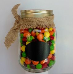 These Skittles Original Flavor Candy come in a Decorative Jar with a chalkboard sticker. These make great party decorations! They are also a nice