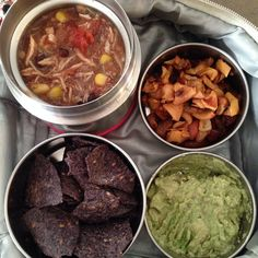 No running water and we're still able to pack a healthy lunch for a growing girl: slow cooker chicken chili with blue corn and sesame seed tortilla and guacamole. Baked apples and pears for snacks.