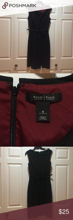 """White House black market pencil skirt dress. Black, cute collar, no hole belt for easy fit (see pic). 1 slit on left front leg. 24 """" skirt from seam White House Black Market Dresses Midi"""