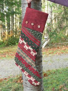 Strip Quilted Christmas Stocking