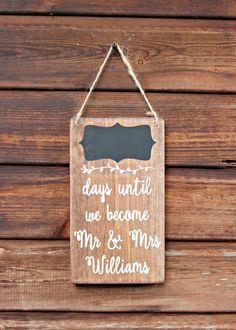 Our personalised wedding countdown sign makes a great gift for a newly engaged couple. We all know the excitement we feel on the lead up to our wedding, enjoy counting down the days until the big day with our handmade wedding countdown sign. Our new wedding countdown for 2017, this adorable sign measures approximately 25cm (h) x 15cm (w) each and is supplied with chalk so you can count down the days until your wedding on the chalkboard panel at the top. This is a unique Bobby Loves Rosie…