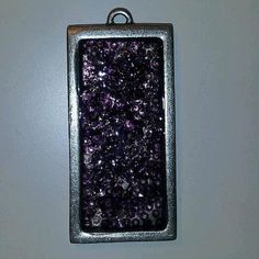 Nickel-plated rectangular pendant filled with purple seed beads and added dimension. 1 x Seed Beads, Plating, Seeds, Pendants, Purple, Metal, Pendant, Pearl Jewelry, Beads