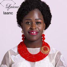 Laanc Cristal Vermelho Conjuntos De Jóias de Noiva para As Noivas de Dama de honra Acessórios Para Festa de Casamento Africano Colar AL651(China (Mainland))