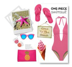 """""""gone to the beach"""" by theworldisatourfeet ❤ liked on Polyvore featuring Cosabella, Victoria's Secret, Le Specs, T-shirt & Jeans and Lime Crime"""