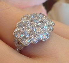 █ Vintage Old European Old Mine Cut Diamond Cluster Ring in Platinum █ | eBay