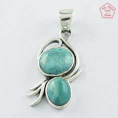 SIIPL- Turquoise Stone Exclusive Design 925 Sterling Silver Pendant P4582  | eBay