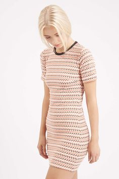 Topshop Textured Mesh Bodycon Dress By Dress Up in White | Lyst
