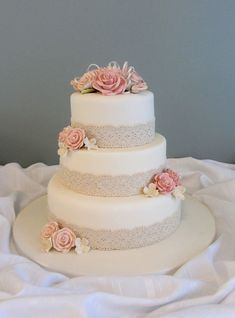 This is the cake! but with orange and purple flowers!   Antique lace wedding cake — Round Wedding cakes #laceweddingcakes