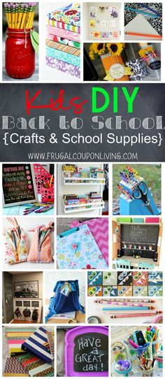 Kids DIY Back to School Crafts & School Supplies - great ready with thise back to school crafts for kids on Frugal Coupon Living.