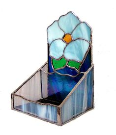 OOAK Stained-glass Flower Caddy by on Etsy Glass Building, Glass Jewelry Box, Stained Glass Flowers, Glass Boxes, Glass Candle Holders, Business Card Holders, Flower Cards, Vintage Gifts, Baby Blue