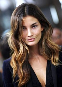 Lily Aldrige mid length ombre hairstyle by celebrity colorist tracey cunningham