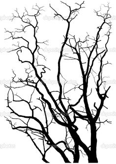 Illustration of tree branches silhouette vector illustration vector art, clipart and stock vectors. Tree Stencil, Stencil Art, Stencils, Leaf Stencil, Tree Silhouette, Silhouette Vector, Branch Drawing, Spooky Trees, Tree Art