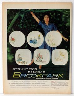 Original Vintage Ad BROOKPARK MASTERPIECES IN MELAMINE DINNERWARE Advertising P #OriginalAdvertising