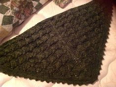 For my dear mother in love.  Malabrigo worsted Lonely Tree shawl.