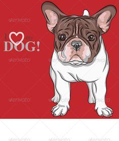French Bulldog Dog Line Drawing, Cute Dog Drawing, Cãezinhos Bulldog, French Bulldog Breed, French Bulldogs, Dog Illustration, Dog Signs, Cartoon Dog, Pug Love