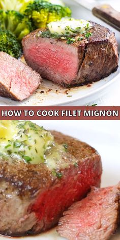The BEST Filet Mignon recipe is cooked in your cast-iron skillet and then baked in the oven for a crusty sear and juicy, Filet Mignon Marinade, Best Filet Mignon Recipe, Pan Seared Filet Mignon, Filet Mignon Steak, Beef Filet, Cast Iron Filet Mignon, Beef Tenderloin Filet Mignon, Perfect Filet Mignon, Beef Fillet Recipes