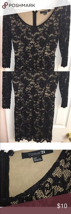 Black Lace dress Forever21 Dress 3/4 Sleeves Forever 21 Dresses