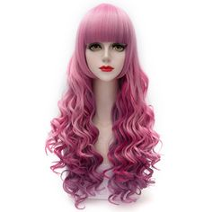 Fluffy Wavy Gorgeous Neat Bang Colorful Ombre Heat Resistant Fiber Long Capless Wig $13.34