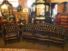 Circa 1900 French Leather Couch & Chair