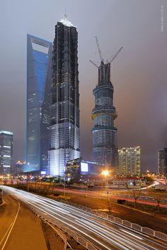 Lujiazui Skyscrapers  Jinmao Tower, Shanghai World Financial Center, China