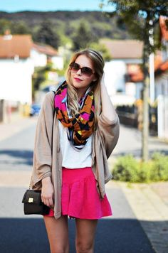 scarf and cardi is perfect for fall... mixing it with the skirt makes it more of a cool weather summer outfit, very versatile!