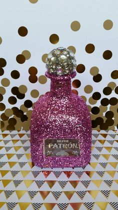 Pink glittered party 21st birthday bottle by MelsBlingingBottles