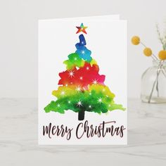 Shop Watercolor Christmas Tree Holiday Card created by PurplePaperInvites. Watercolor Christmas Tree, Christmas Tree Painting, Christmas Drawing, Christmas Greeting Cards, Christmas Greetings, Holiday Cards, Kids Christmas, Christmas Crafts, Lettering