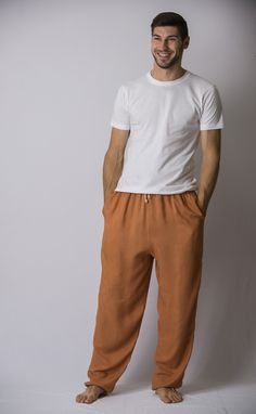Solid Color Drawstring Men's Yoga Massage Pants in Beige – Harem Pants