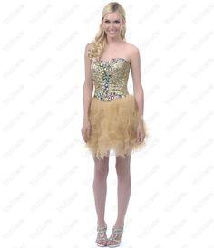 Gold Sequined Rhinestone Strapless Short Dress - Vuhera.com