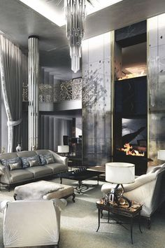 Sparkling Black & White Luxury Living Room