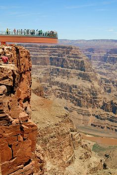 Grand Canyon Skywalk, Arizona, USA: this horseshoe-shaped, glass walkway extends 65 feet over the edge of the Grand Canyon, with its 4,000 foot depth right beneath your feet.