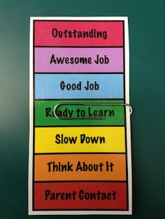 Instead of a huge chart, students will be able to see behavior at their desks. This would be awesome for behavior plan that is less public for certain students. I don't use a clip chart in my grade class, but a few students would benefit from this! Classroom Behavior Management, Behavior Plans, Student Behavior, Behaviour Management, Classroom Organisation, Classroom Behavior Chart, Behavior System, Desk Organization, Classe Dojo