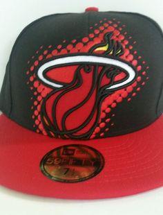 e2016edd7da73 New Era NBA Miami Heat Hardwood Classics Big Dot Pop Fitted Hat Cap 7-1 2  Black