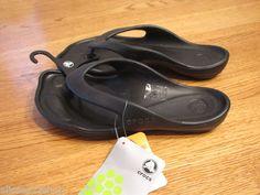 Womens crocs ABF single flip flop black sport sandal W 5 comfort deluxe thongs  1