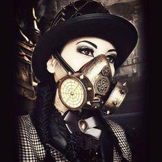 credit @victoriantimemachine ------ @anastasiya.beygel #macabre #steampunkstyle #wasteland #cyberpunk #demon #steampunkmodel #postapocalypse #tophats #skull #skeletons