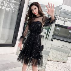 Very fairy gauze dress Spring and Autumn New Fairy Wind Star Goddess Sweet all kinds of temperament with small fresh waist Winter Dresses, Spring Dresses, Women's Dresses, Fashion Beauty, Girl Fashion, Fashion Outfits, Skater Fashion, Gauze Dress, Aesthetic Clothes