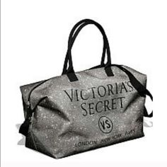 VS weekender bag or gym bag Silver glitter bag. Offers welcome. Rest assured that your purchased items come from a clean and pet free home. Check out my love notes in my profile!  Victoria's Secret Bags Travel Bags