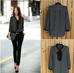 High Quality Polka Dot Chiffon Top Shirt Blouse For Less. Material:Cotton,Polyester Size: Free  Note: Please refer to the provided size chart. 1:As different computers display colors differently, the color of the actual item may vary slightly from the above images. 2:Attention:We are 1 or 2...